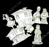 Елементи от бирен картон и дърво-Лазерно изрязани фолклорни фигури от бирен картон