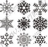 Design stamps and inscriptions-Snowflakes