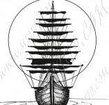 101/1029/Дизайнерски печати и надписи за картички-Морски-Кораб и залез