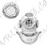 101/1089/Дизайнерски печати и надписи за картички-Морски-Водолазен костюм