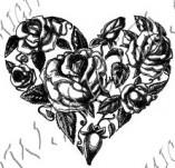 23/1115/Дизайнерски печати и надписи за картички-Цветя-Сърце с рози