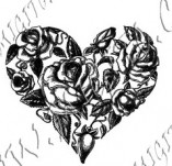 100/1116/Дизайнерски печати и надписи за картички-Сърчица-Сърце с рози