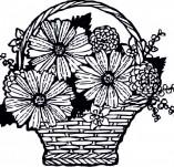 23/120/Дизайнерски печати и надписи за картички-Цветя-Печат на кошничка с цветя 1