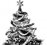 25/122/Дизайнерски печати и надписи за картички-Нова Година-Печат на елха 2