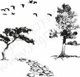 91/1237/Дизайнерски печати и надписи за картички-Направи си картина-Печат на камъни с дървета за рисуване