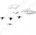 91/1242/Дизайнерски печати и надписи за картички-Направи си картина-Печат на облаци и птици за рисуване на картички