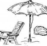 146/1480/Дизайнерски печати и надписи за картички-Микс медия печати-Чадър и шезлонг