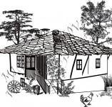 91/1607/Дизайнерски печати и надписи за картички-Направи си картина-Стара къща печат