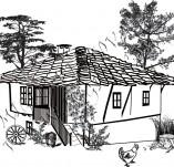 161/1690/Дизайнерски печати и надписи за картички-Български мотиви-Стара българска къща печат