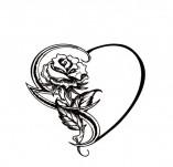 100/1697/Дизайнерски печати и надписи за картички-Сърчица-Печат на сърце с роза 2