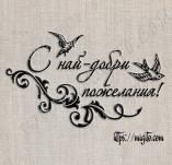 76/1704/Дизайнерски печати и надписи за картички-Надписи на български-С най-добри пожелания с птички