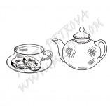 25/1801/Дизайнерски печати и надписи за картички-Нова Година-Печат на чаша със сладки и чайник
