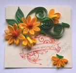 14/1887/Картички-Квилинг-Честит празник с жълти цветя