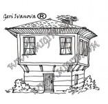 161/1894/Дизайнерски печати и надписи за картички-Български мотиви-Печат на възрожденска къща 1