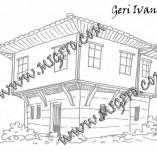 161/1895/Дизайнерски печати и надписи за картички-Български мотиви-Печат на възрожденска къща 3