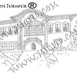 161/1896/Дизайнерски печати и надписи за картички-Български мотиви-Печат на възрожденска къща 2