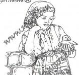 161/1897/Дизайнерски печати и надписи за картички-Български мотиви-Печат на момиче в народна носия 1