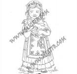 161/1898/Дизайнерски печати и надписи за картички-Български мотиви-Печат на момиче в народна носия 2
