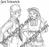 161/1899/Дизайнерски печати и надписи за картички-Български мотиви-Печат на момче и момиче в народни носии