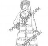 161/1900/Дизайнерски печати и надписи за картички-Български мотиви-Печат на момиче в народна носия 3