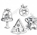 25/1919/Дизайнерски печати и надписи за картички-Нова Година-Печати дребни новогодишни усмивки