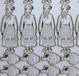 182/1956/Елементи от бирен картон и дърво-Лазерно изрязани фолклорни фигури от бирен картон -Момиче със стомна бирен картон сет