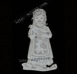 182/1982/Елементи от бирен картон и дърво-Лазерно изрязани фолклорни фигури от бирен картон -Мома с кокошчица крафт елемент