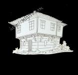 182/1983/Елементи от бирен картон и дърво-Лазерно изрязани фолклорни фигури от бирен картон -Възрожденска къща 1 крафт елемент Бирен картон