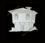 182/1985/Елементи от бирен картон и дърво-Лазерно изрязани фолклорни фигури от бирен картон -Възрожденска къща 2 крафт елемент