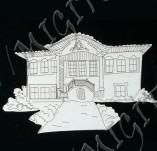 182/1993/Елементи от бирен картон и дърво-Лазерно изрязани фолклорни фигури от бирен картон -Възрожденска къща лазерно изрязана Бирен картон