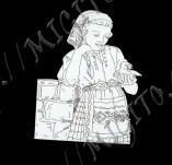 182/1994/Елементи от бирен картон и дърво-Лазерно изрязани фолклорни фигури от бирен картон -Момиче с пиле възрожденско лазерно изрязано