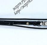 189/2066/Бижута-Ръчно изработени гривни и маншети с шевици-Ръчно изработена гривна от черна кожа с метален елемент