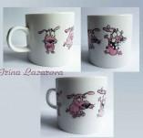 191/2081/Рисувани и облечени чаши-Ръчно рисувани стъклени и порцеланови чаши-Ръчно рисувана порцеланова чаша с кученце