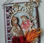 187/2154/Картички-Фолклорни картички -Ръчно изработена фолклорна картичка с момиче и момче с носии