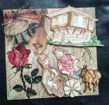 187/2155/Картички-Фолклорни картички -Ръчно изработена картичка с фолклорен дух с момче и момеч с носии и бродирана роза