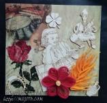187/2157/Картички-Фолклорни картички -Ръчно изработена картичка фолклор с момче и момече в носии