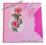 198/2180/Картички-Картички с бродерия ръчно изработени-Ръчно изработена бродирана картичка с розови цветя