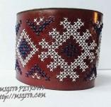 189/2187/Бижута-Ръчно изработени гривни и маншети с шевици-Ръчно изаработена гривна от кафява естествена кожа с шевица