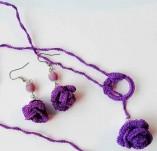 186/2188/Бижута-Плетени бижута -Лот плетено колие и обеци с лилави рози