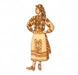 182/2241/Елементи от бирен картон и дърво-Лазерно изрязани фолклорни фигури от бирен картон -Мома играеща ръченица