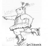 25/2272/Дизайнерски печати и надписи за картички-Нова Година-Печат Веселото мече