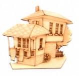 182/2276/Елементи от бирен картон и дърво-Лазерно изрязани фолклорни фигури от бирен картон -Лазерно изрязана възрожденска къща от дърво 2