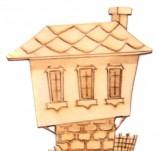 182/2277/Елементи от бирен картон и дърво-Лазерно изрязани фолклорни фигури от бирен картон -Лазерно изрязана възрожденска къща от дърво 3