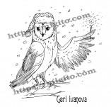 25/2304/Дизайнерски печати и надписи за картички-Нова Година-Забулена сова печат