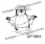 25/2305/Дизайнерски печати и надписи за картички-Нова Година-Празничен пингвин печат