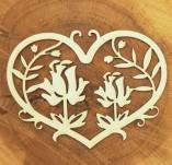 184/2334/Елементи от бирен картон и дърво-лазерно изрязани рамки от бирен картон и дърво -Лазерно изрязани сърца с цветя