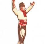 182/2369/Елементи от бирен картон и дърво-Лазерно изрязани фолклорни фигури от бирен картон -Лазерно изрязан момък от дърво оцветен