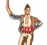 182/2371/Елементи от бирен картон и дърво-Лазерно изрязани фолклорни фигури от бирен картон -Лазерно изрязан момък с гега дърво оцветен