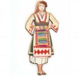182/2392/Елементи от бирен картон и дърво-Лазерно изрязани фолклорни фигури от бирен картон -Лазерно изрязана мома в носия