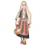 182/2393/Елементи от бирен картон и дърво-Лазерно изрязани фолклорни фигури от бирен картон -Лазерно изрязана мома със стомна